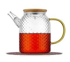 """Чайник заварочный """"Меркурий"""" 1 л, стеклянный с бамбуковой крышкой"""