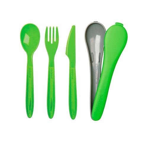 """Набор столовых приборов в футляре Sistema """"TO GO"""" 3пр., цвет Зеленый"""