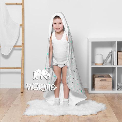 Рушник дитячий банний з капюшоном Warmo™ НЕБО 100x100см