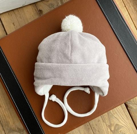 Велюровая шапочка для новорожденных (0-3 мес,серый)