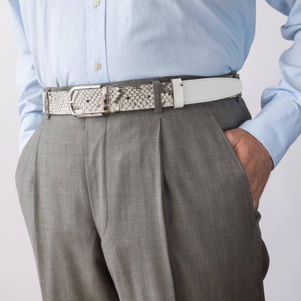 Ремень мужской кожаный из натурального питона ширина 35мм со стальной пряжкой-клипсой