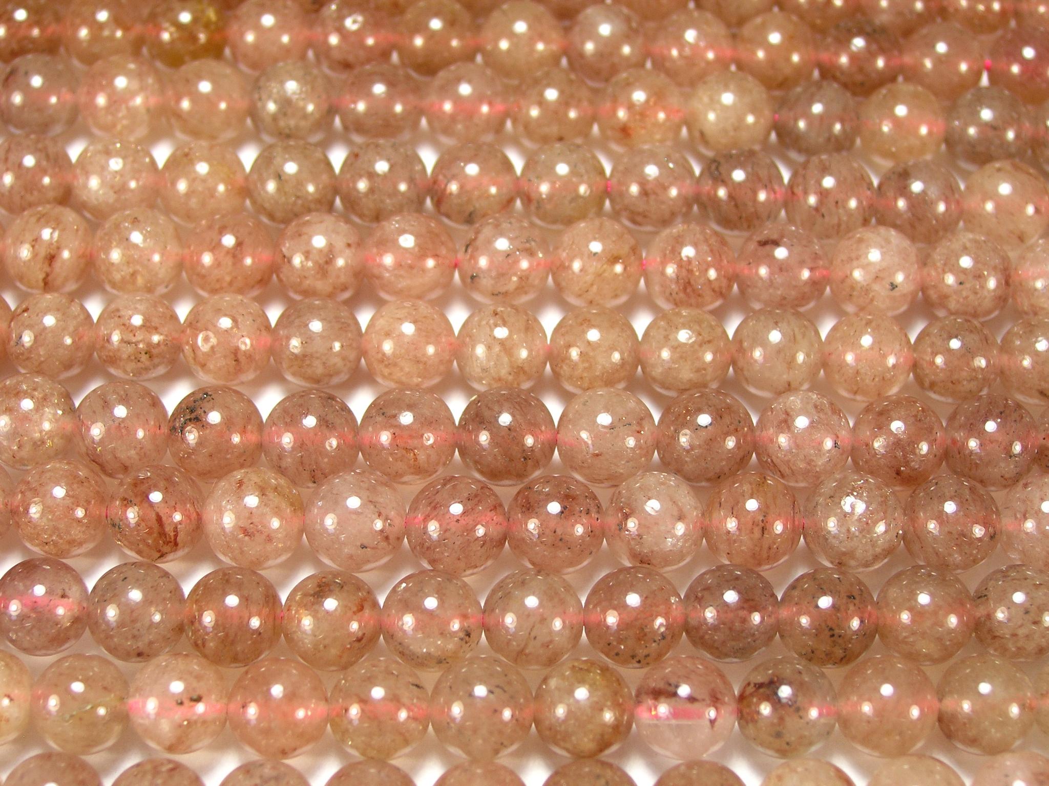 Нить бусин из кварца клубничного, шар гладкий 8мм