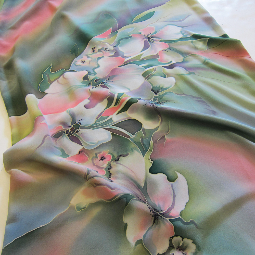 Шелковое платье батик Весна PL-01