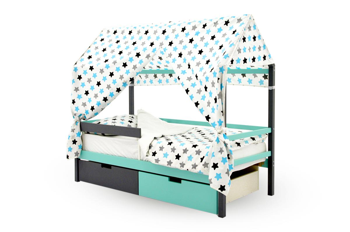"""Крыша текстильная для кровати-домика Svogen """"звезды,графит, бирюза, серый"""""""