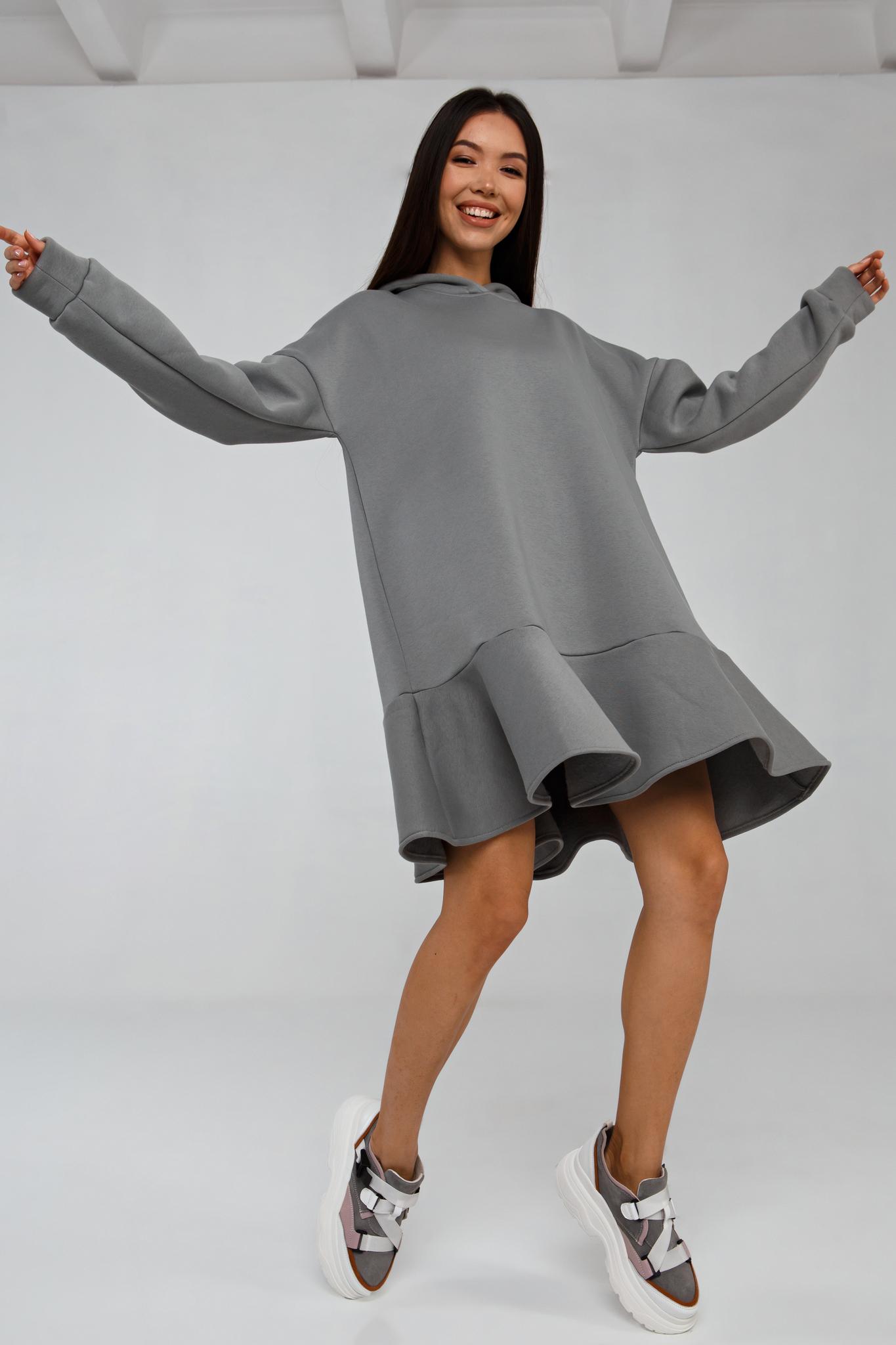Платье-худи oversize серое с начесом YOS