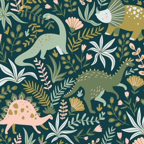 Динозавры и цветы
