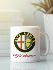 Кружка с рисунком Альфа Ромео (Alfa Romeo) белая 0010