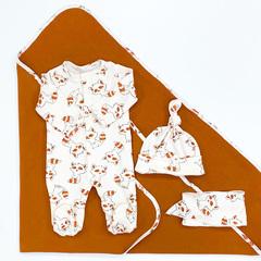 СуперМамкет. Комплект для выписки с комбинезоном, шапочкой и пледом Еноты, коричневый лента вид 3