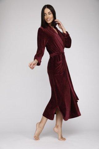 Велюровый женский халат 807 сливовый