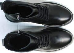 Черные кожаные ботинки женские на шнуровке осень весна Misss Roy 252-01 Black Leather.
