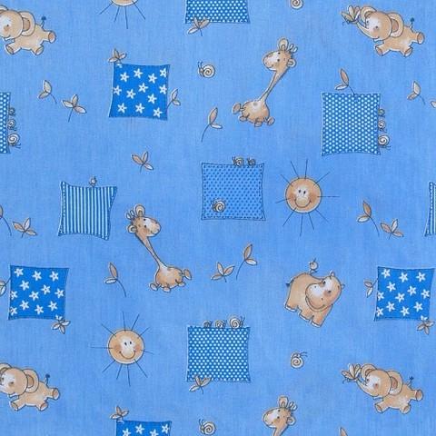 Бязь 120 гр/м2  детская 150 см 366/1 Жирафики цвет голубой