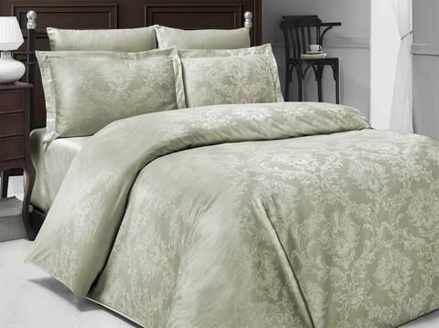 Комплект постельного белья DO&CO Сатин  жаккард  RACHEL 2 спальный Евро цвет светло-зеленый