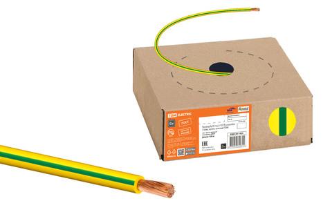Провод ПуГВ 1х2,5 ГОСТ в коробке (100м), желто-зеленый TDM