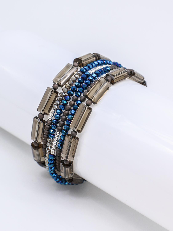 Браслет многослойный из синего и коричневого хрусталя с серебром  оптом и в розницу
