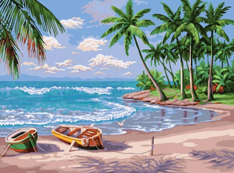 Алмазная Мозаика 38х28 Лодки на берегу острова (арт. K1750)