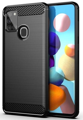 Мягкий чехол черного цвета в стиле карбон на Samsung Galaxy A21S, серия Carbon от Caseport