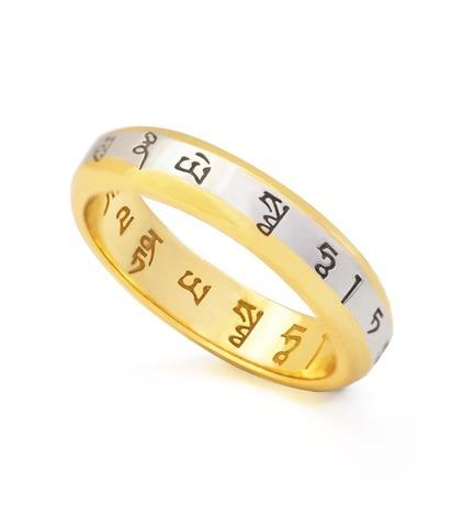 Кольцо с мантрой Желтого Джамбала и Шакьямуни