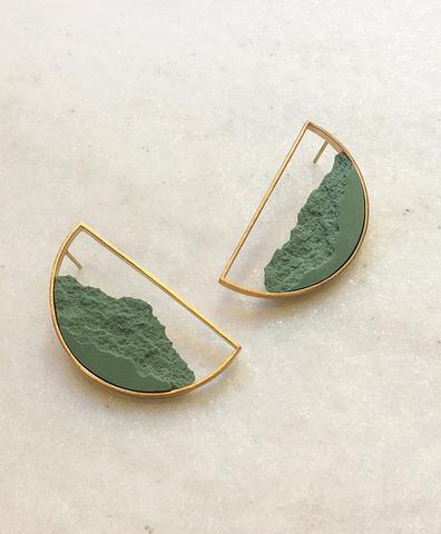 Серьги Semicircular Gold Green