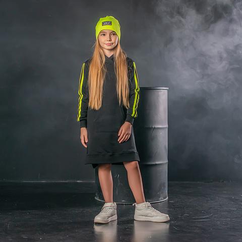 Neo hooded dress for teens - Black