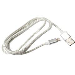Кабель iPhone 5, тканевый, катушка, white