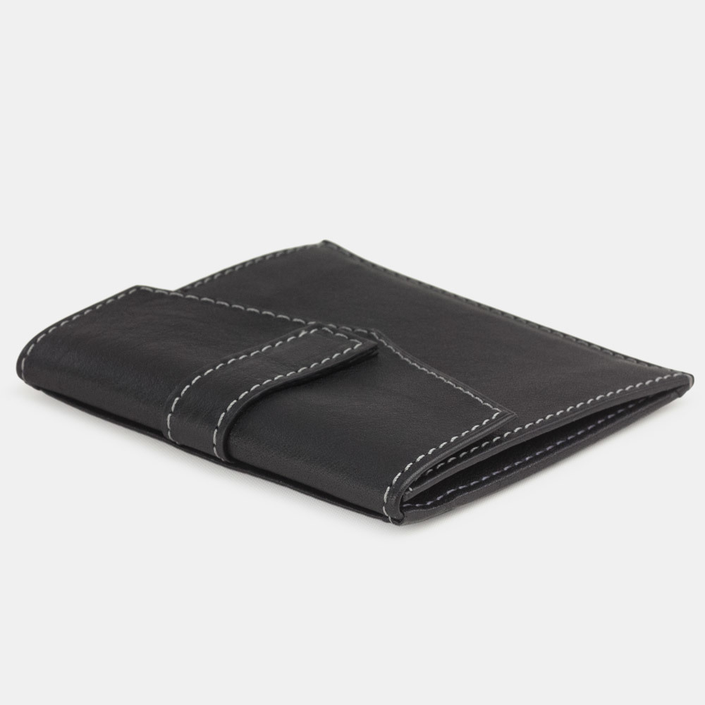 Картхолдер-кошелек Perle Easy из натуральной кожи теленка, черного цвета