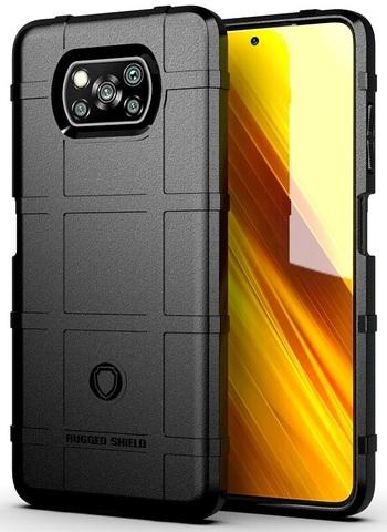 Противоударный чехол на Xiaomi Poco X3 NFC, черный цвет, серии Armor от Caseport