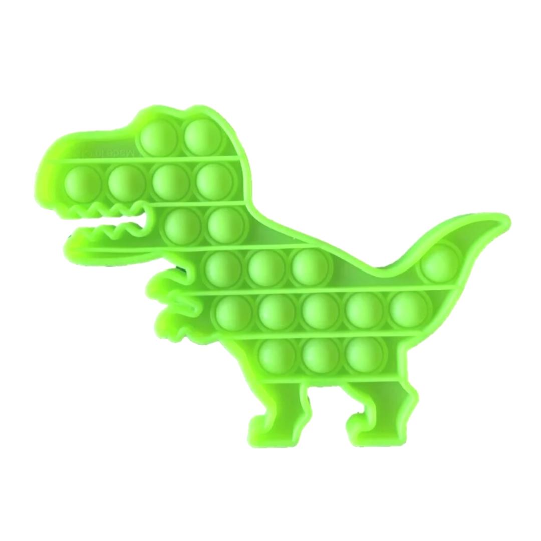 Пупырка вечная антистресс pop it (поп ит) светящийся в темноте динозавр