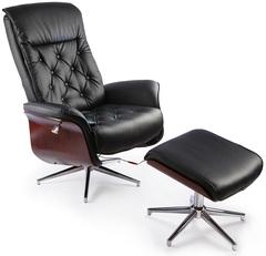 Массажное кресло TV-кресло Calviano 95 с пуфом черное