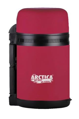 Термос универсальный для еды и напитков Арктика (203-800 красный) 0,8 литра с широким горлом, красный матовый