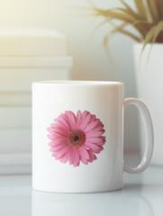 Кружка с изображением Цветы (Герберы) белая 003