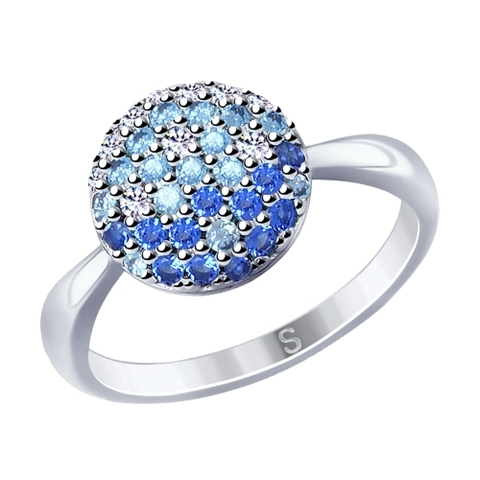 94012531 - Кольцо из серебра с голубыми фианитами