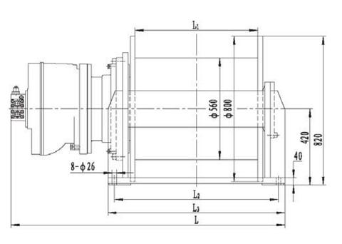 Гидравлическая лебедка IYJ6-150-198-30-ZP (схема 1)