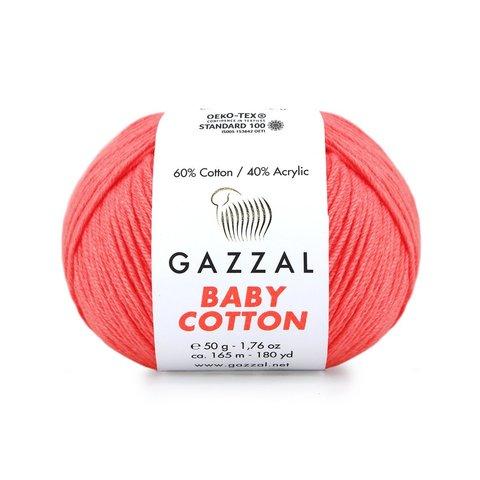 Пряжа Gazzal Baby Cotton 3460 розовый неон
