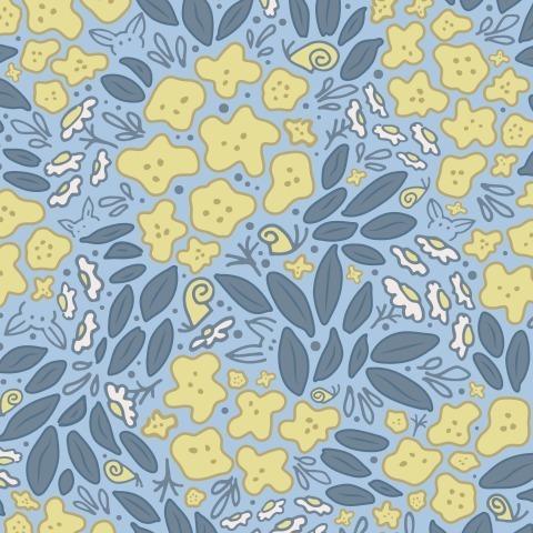 Садовые цветы на голубом фоне