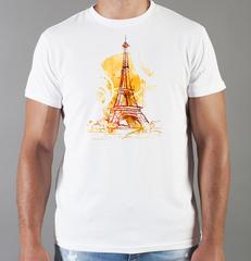 Футболка с принтом Париж, Франция, Эйфелева башня (France/ Paris) белая 005