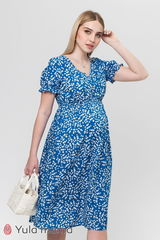 Платье миди для беременных и кормящих из штапеля синее