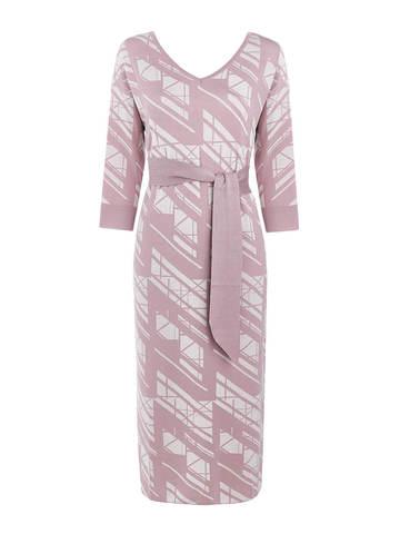 Женское платье светло-розового цвета из шелка и вискозы - фото 1
