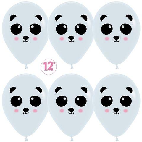Шар (12''/30 см) Панда, Белый (005), пастель, 2 ст.
