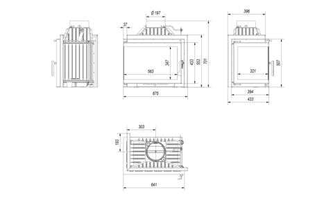 Каминная топка Kratki SMART/M/S/L/BS (угловое стекло слева)