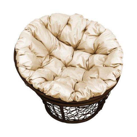 Кресло Papasan, цвет плетения коричневый, цвет подушки бежевый