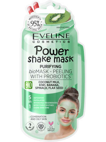 EVELINE POWER SHAKE MASK Очищающая bio маска-пилинг с пробиотиками 10мл (*12*60)