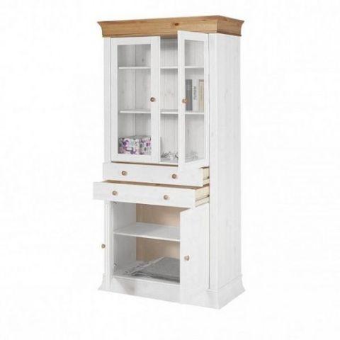 Шкаф с витриной для посуды Бостон А (белый воск/антик)