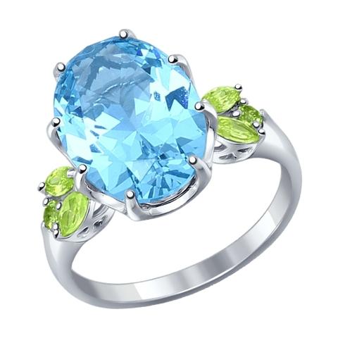92011217 - Кольцо из серебра с голубым ситаллом