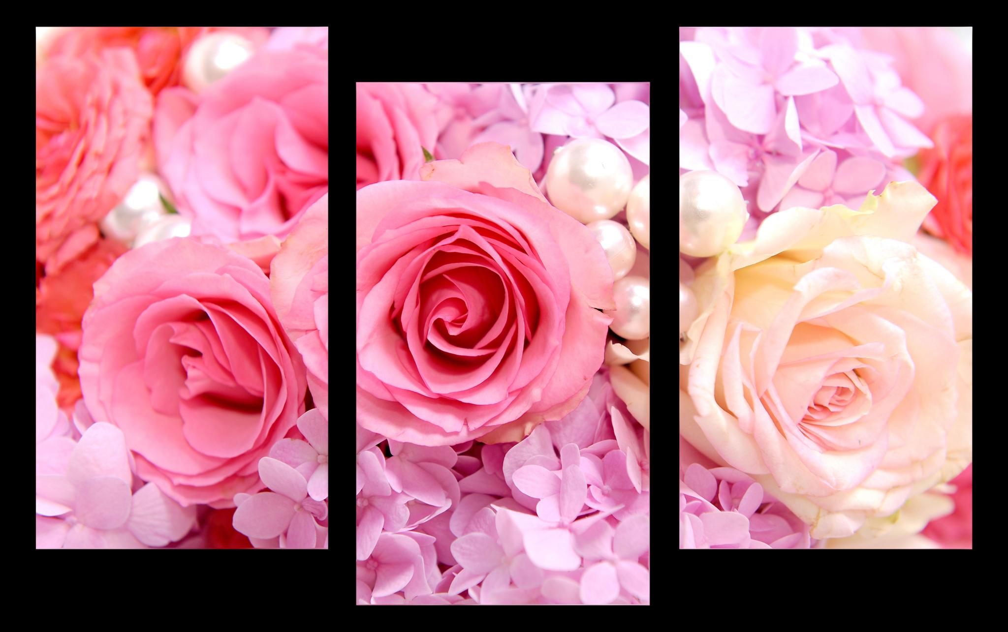 """Цветы Модульная картина """"Жемчужные розы"""" М1057_M_загибы_100х66.png"""