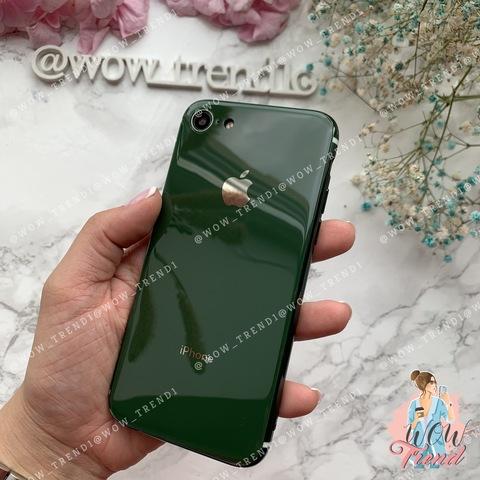 Чехол iPhone 7/8 Glass Silicone Case Logo /green/
