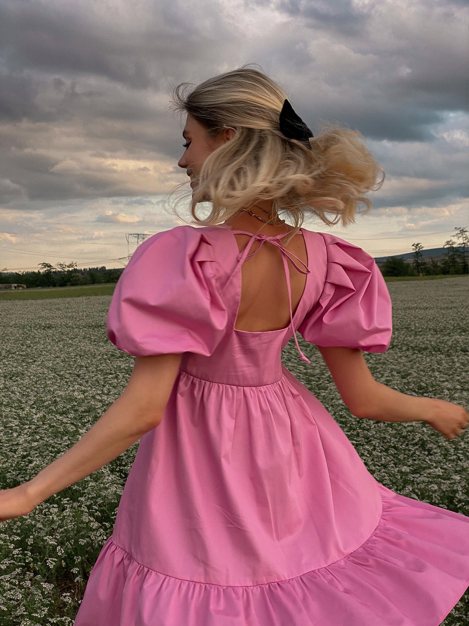 Платье ярусное из хлопка (розовый)