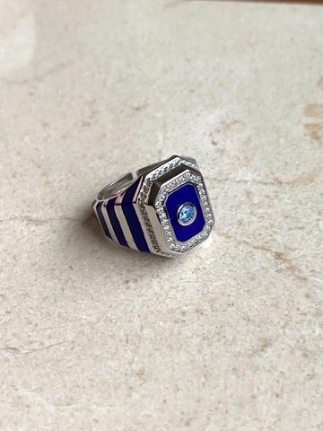 Кольцо Ситрисия, серебро с синими полосками