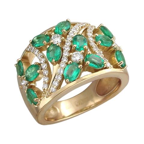 01К643348-1 - Кольцо из желтого золота 750 пробы с изумрудами и бриллиантами