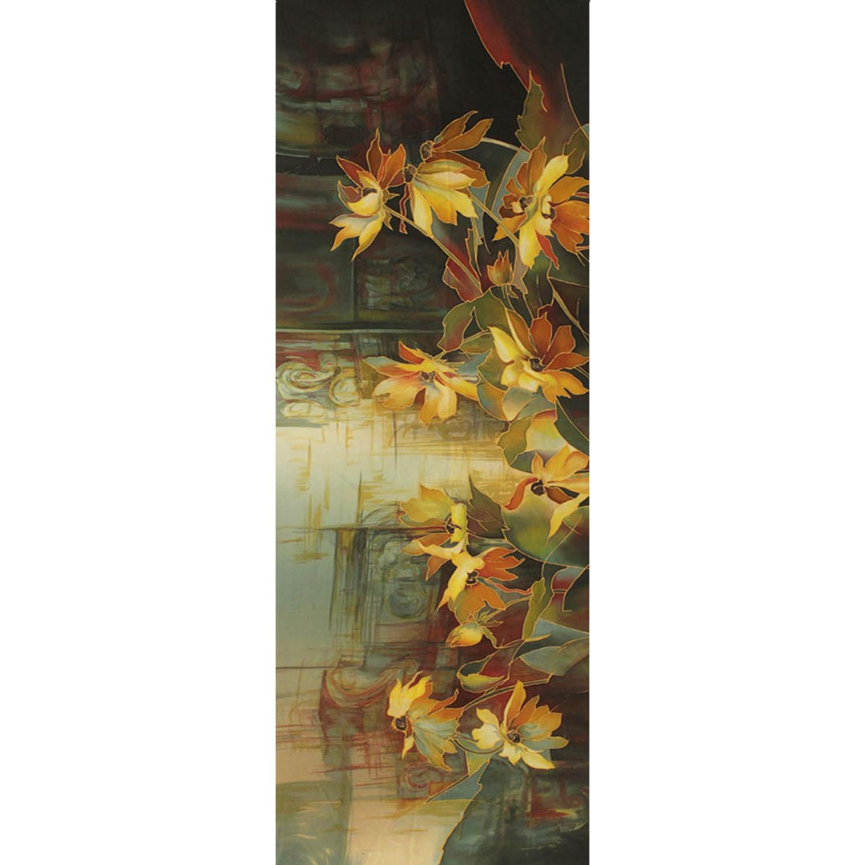 Палантин из натурального шелка ручной росписи батик Лилии