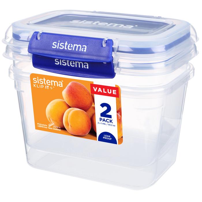 """Набор герметичных контейнеров Sistema """"KLIP IT+"""" 1,49 л, 2шт."""